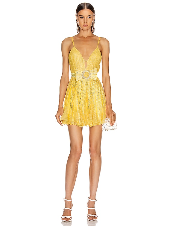 Strass Embellished V Neck Mini Dress in Yellow