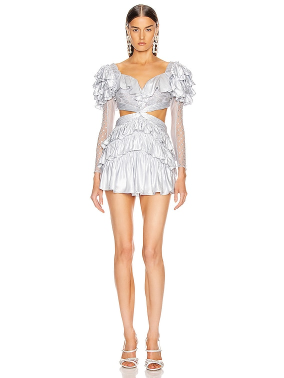 Strass Embellished Ruffled Lace Mini Dress in Baby Blue