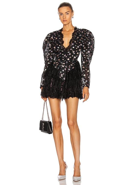 Glittered Lace V Neck Mini Dress in Black