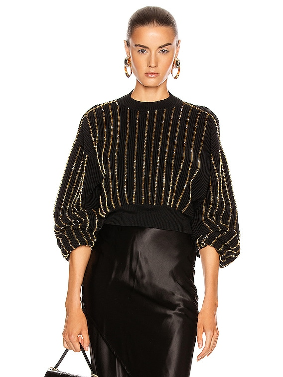 Beaded Knit Sweater in Black