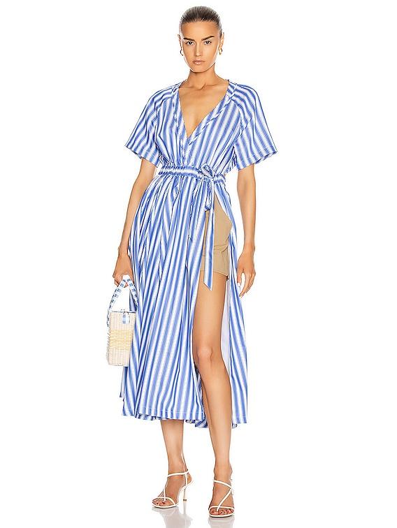 Wrap Skort Dress in Blue Stripe