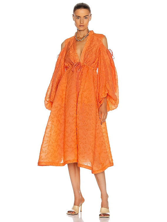 Cold Shoulder Gathered Shirt Dress in Cantaloupe