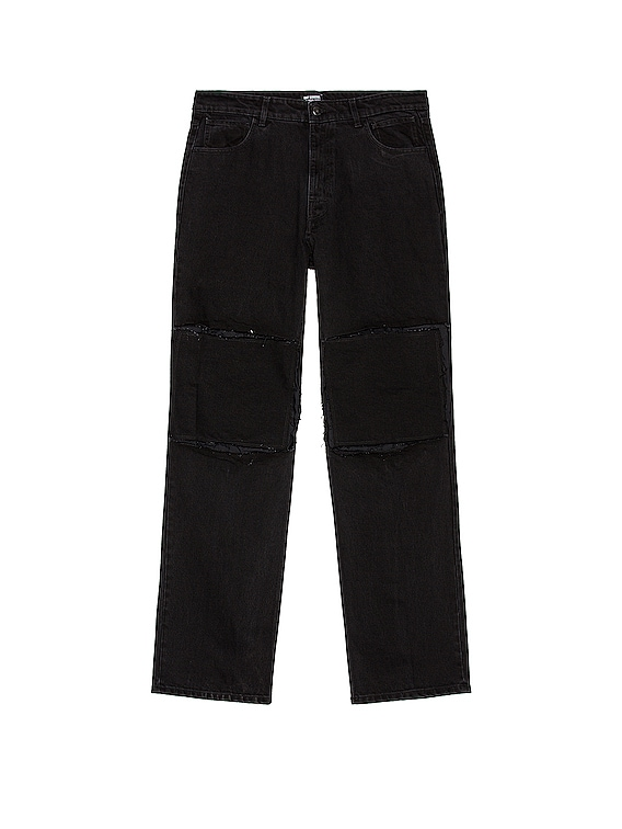 Relaxed Fit Denim Pants With Cut Out Knee Patches in Black