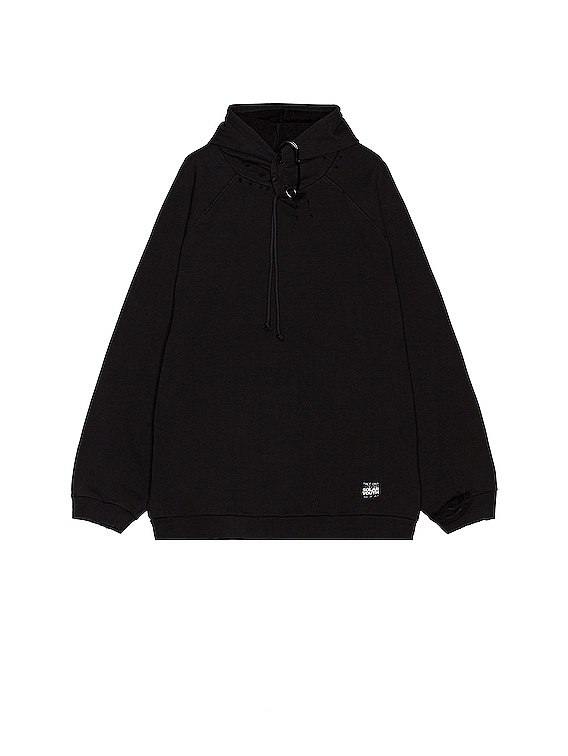 Destroyed Oversized Hoodie With Big Pin in Black
