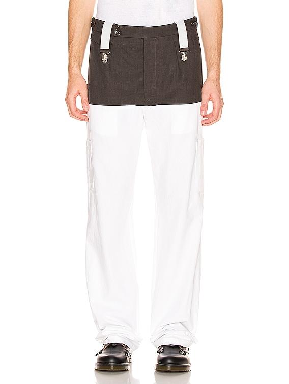 Suspender Pants in Dark Brown & White
