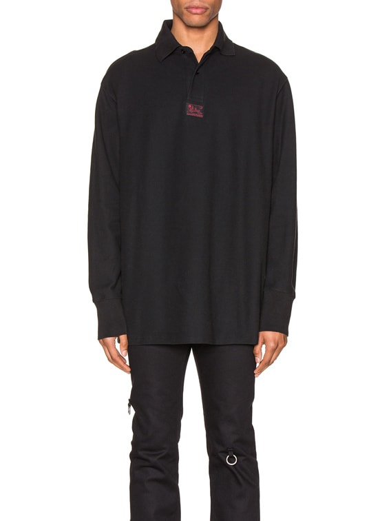 Long Sleeve Polo in Black
