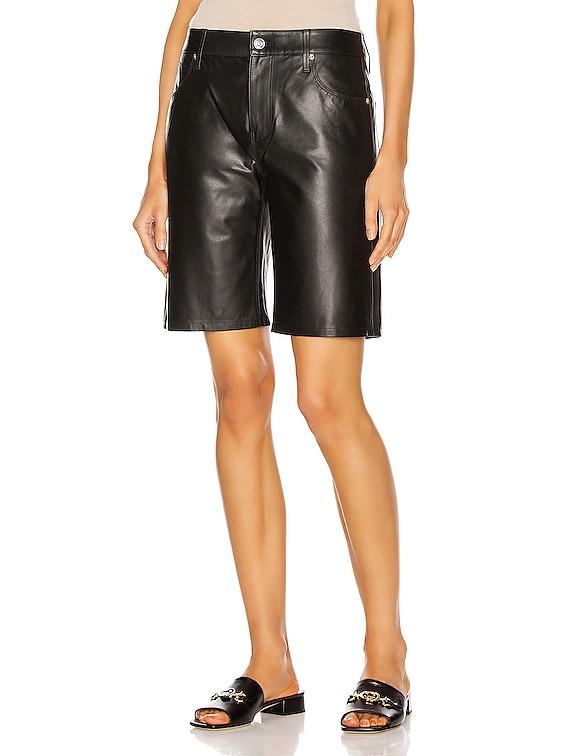 Leather Jami Baggy Short in Black Su