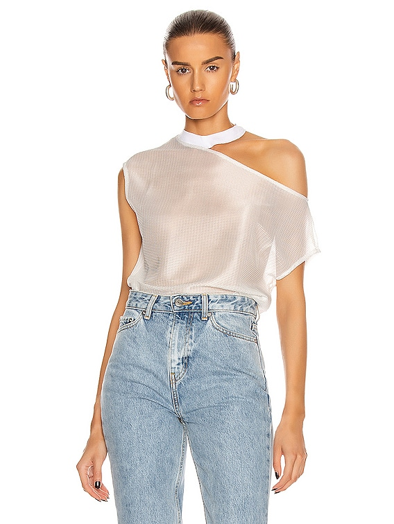 Axel Rib Neck Cut Out Tee in Faze White