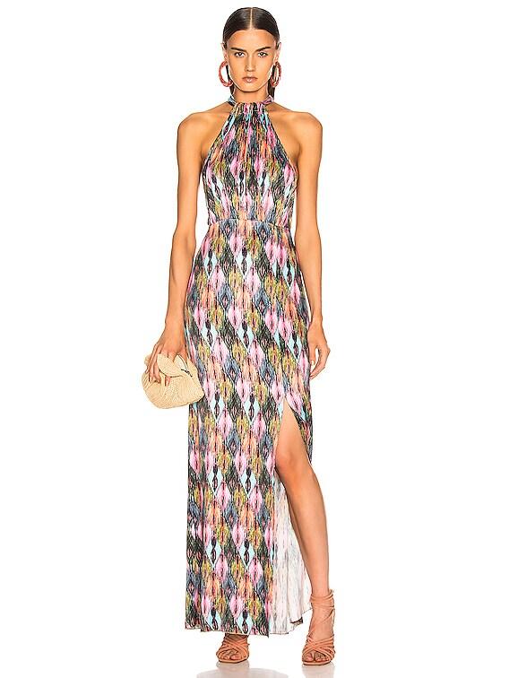 Halter Style High Slit Maxi Dress in Print