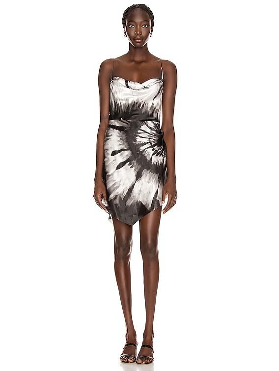 Auris Dress in Black Tie Dye