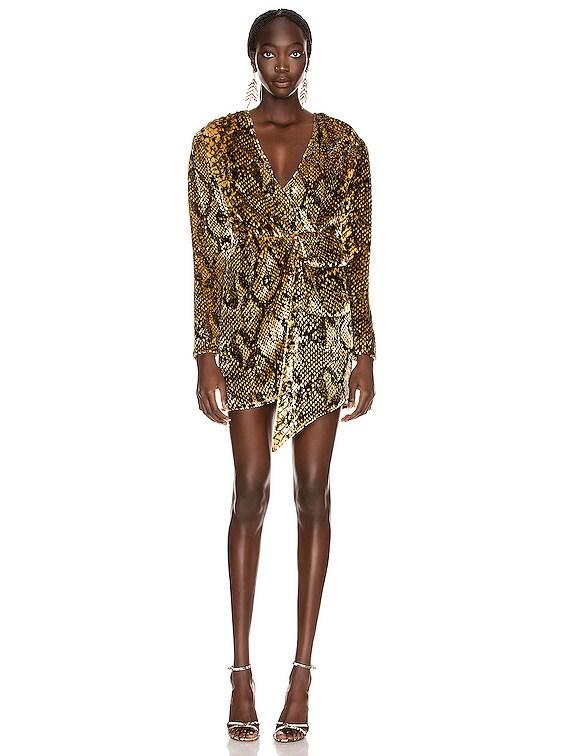 Eleanor Dress in Gold Snake