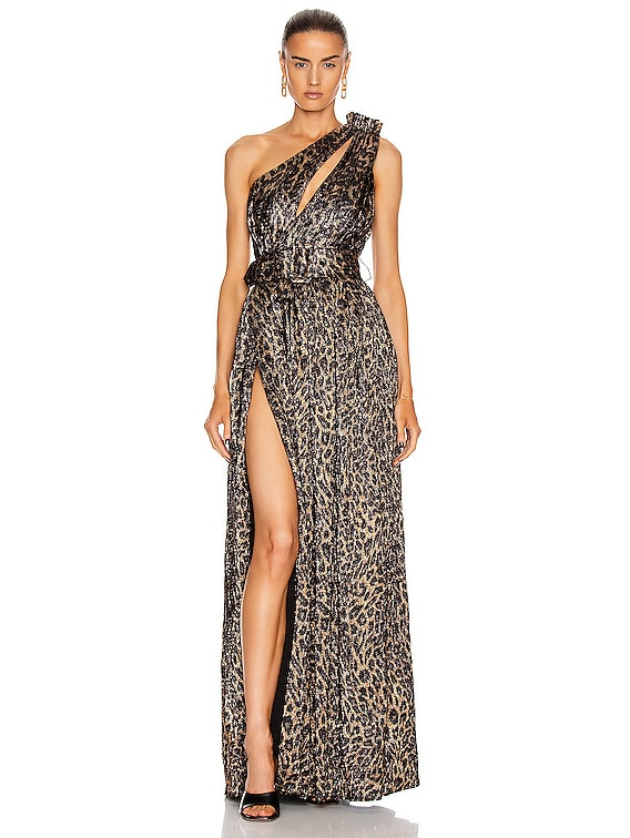 Andrea Dress in Bronze Leopard