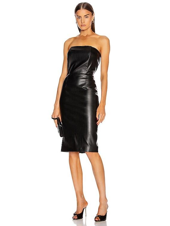 for FWRD Daniella Faux Leather Midi Dress in Black
