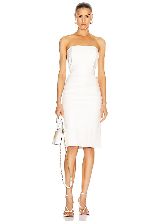 for FWRD Daniella Faux Leather Midi Dress in White
