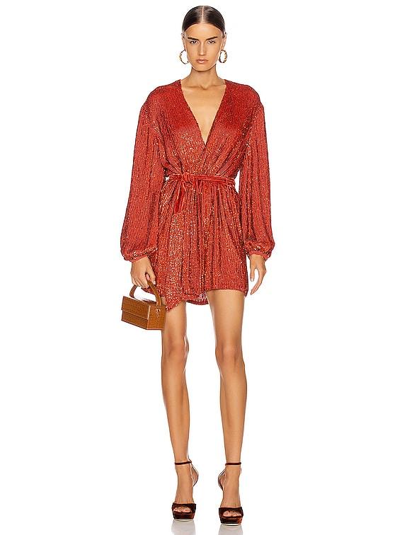 Gabrielle Robe Dress in Burnt Orange