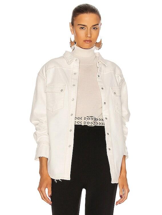 Dora Denim Top in Vintage White