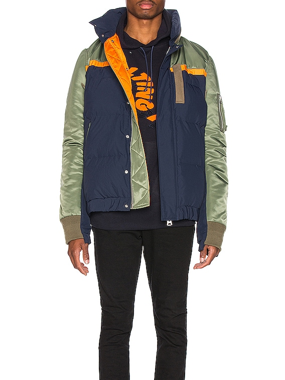 Nylon Twill Down Jacket in Khaki & Navy