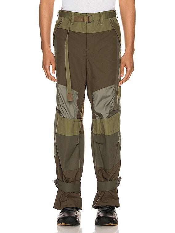 Fabric Combo Pants in Khaki