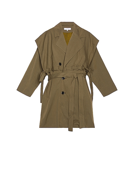 Power Shoulder Trench Coat in Olive