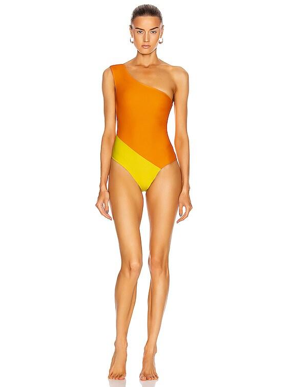 Romy Swimsuit in Tangerine & Egg Yellow