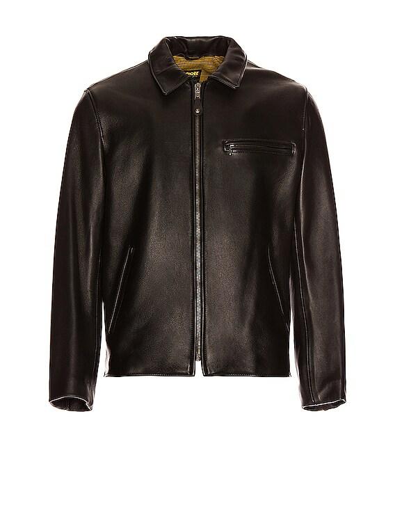 Collar Lamb Leather Jacket in Black