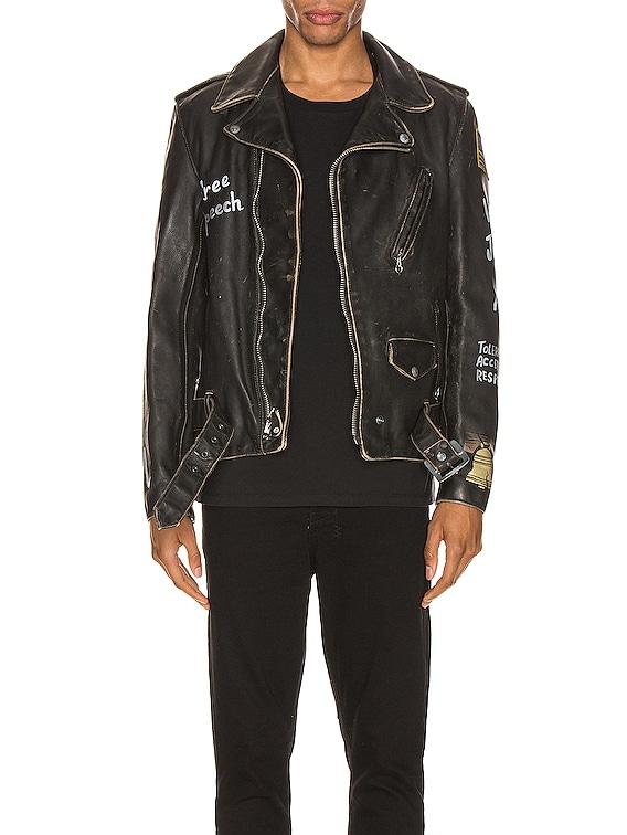 PER74 Hand Painted Vintage Perfecto Jacket in Black