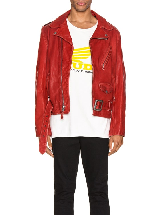 P614 Leather Perfecto Jacket in Red