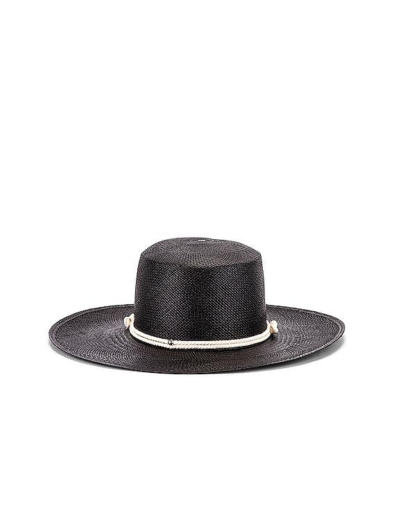 Long Brim Cord & Seashell Hat in Black