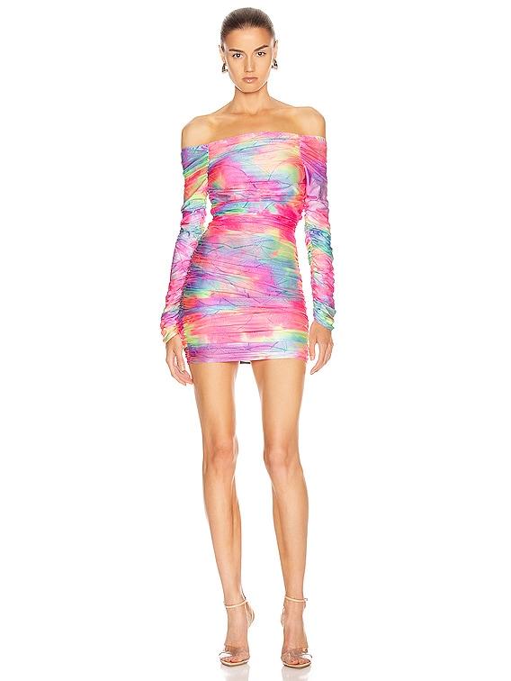 Jolene Glitter Tie Dye Dress in Multicolor