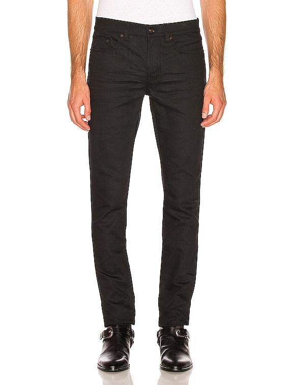 Low Rise Skinny Jean in Used Black