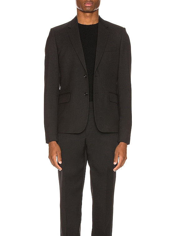 Two Button Gabardine Blazer in Black