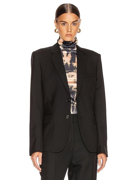 Two Button Gabardine Blazer in Black