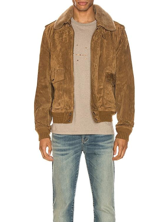 Suede Shearling Flight Jacket in Brown