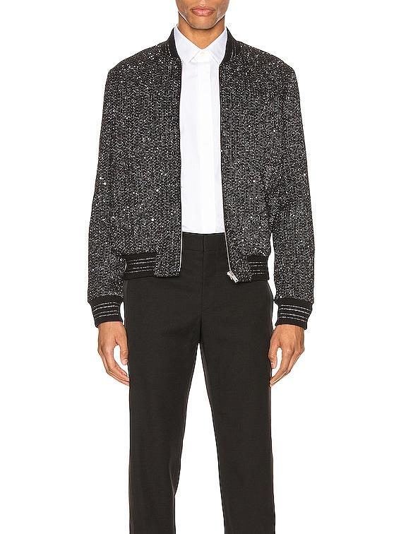 Teddy Tweed Jacket in Argent Black