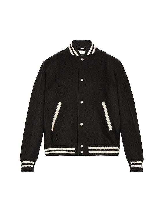 Teddy College Varsity Jacket in Black