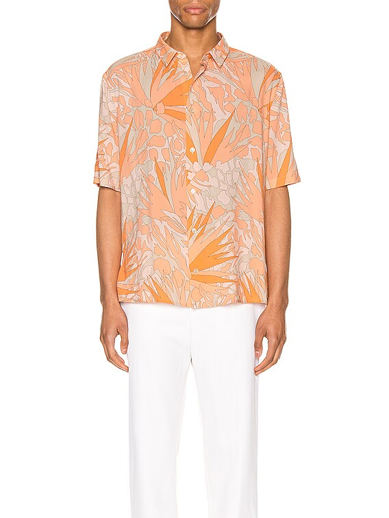 Short Sleeve Shirt in Orange Taupe