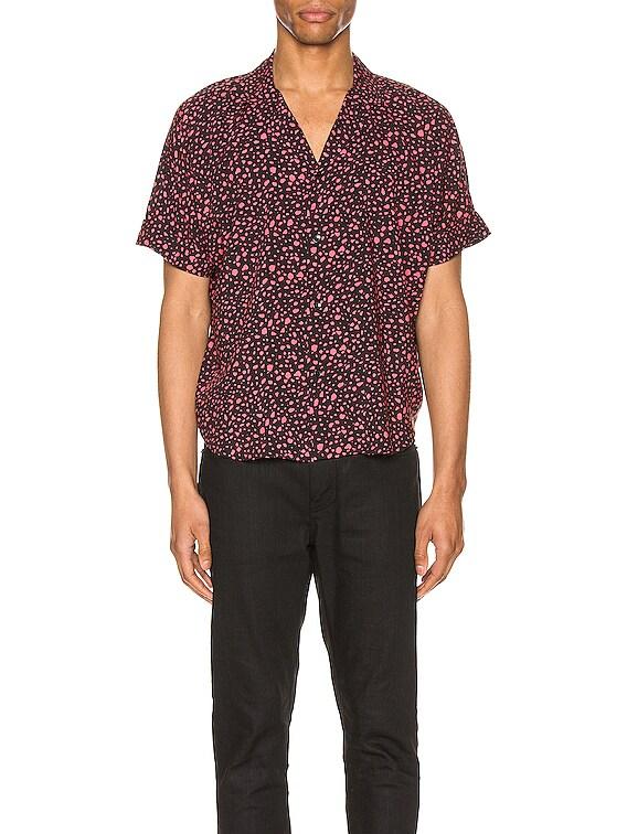 Short Sleeve Shirt in Black & Fuchsia