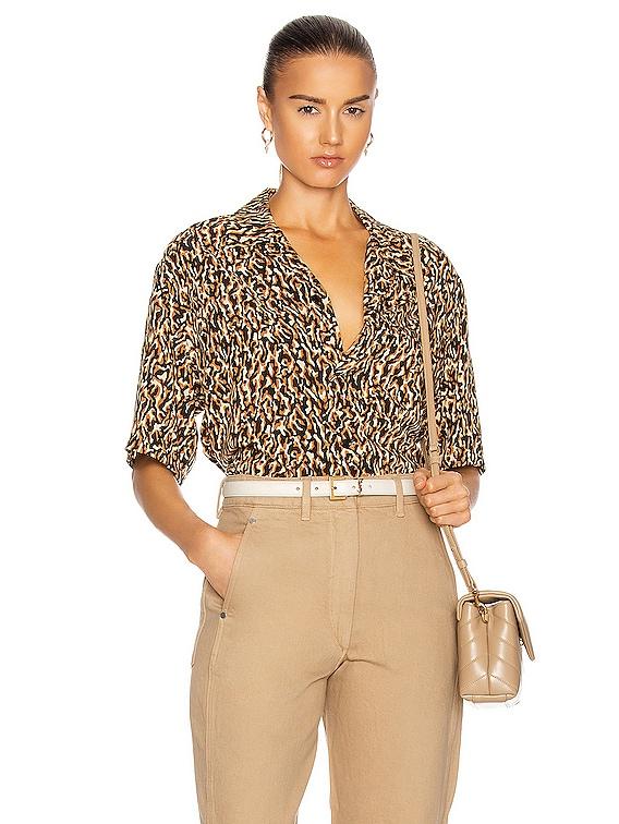 Short Sleeve Button Down in Leopard