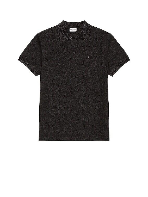Short Sleeve Polo in Black & Black Brillant