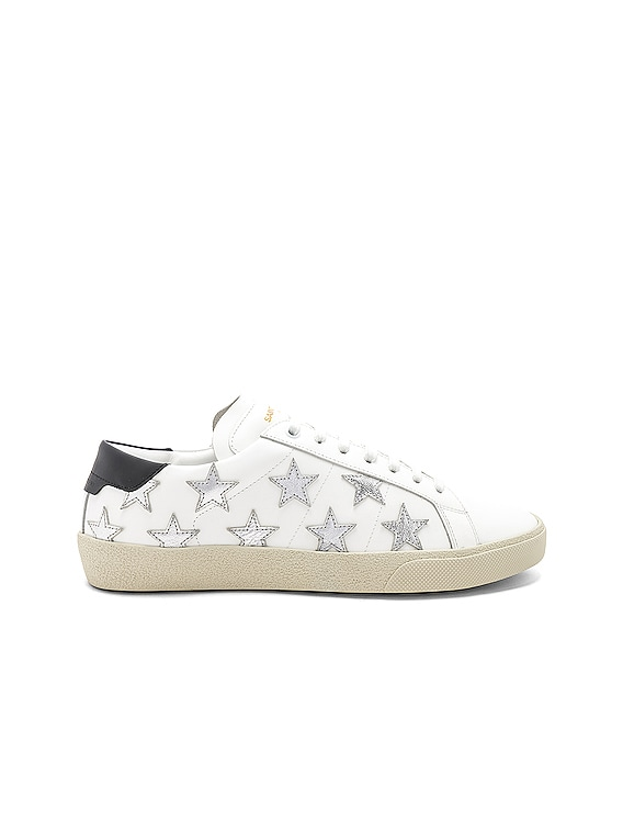 Star Leather Low Top Sneakers in White & Silver