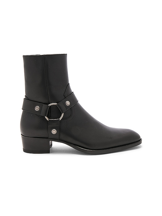 Leather Wyatt Harness Boots in Black