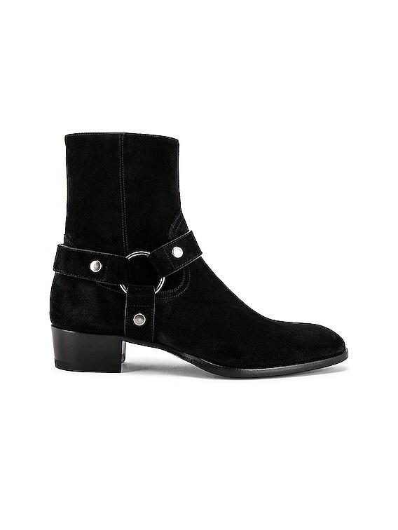 Wyatt Suede Harness Boots in Black