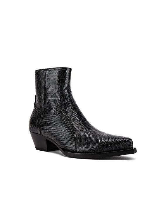 Lukas Zipped Lizard Boot in Black