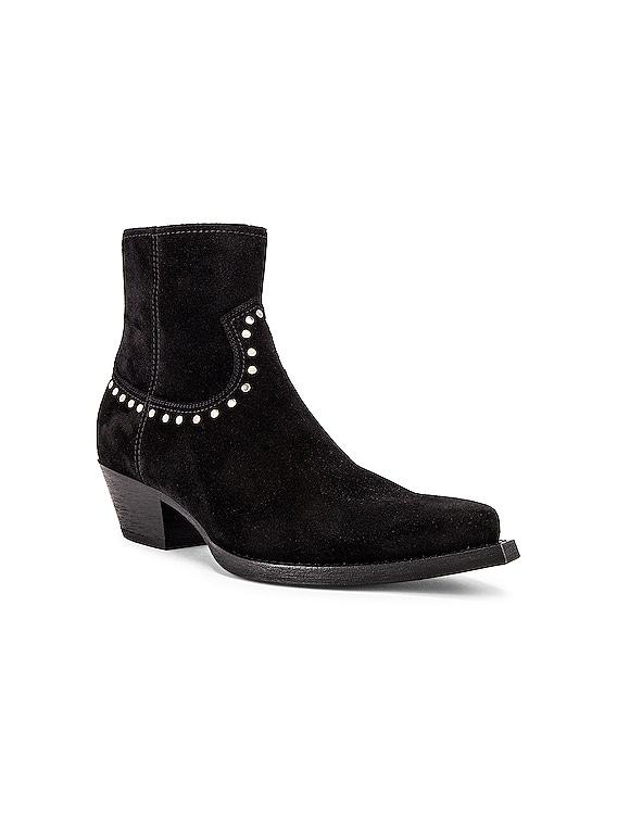 Lukas 40 Studs Zip Boots in Black