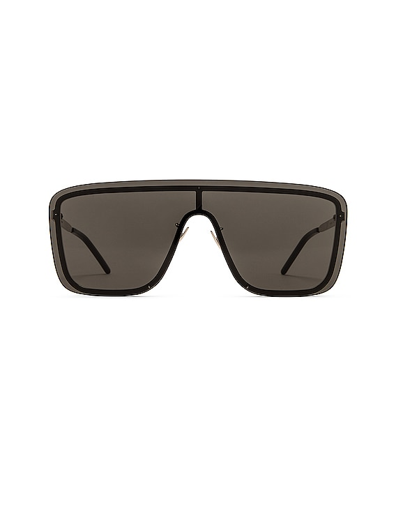 Mask Ace Shield Sunglasses in Shiny Black