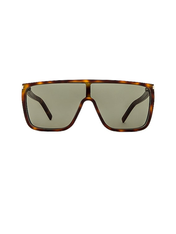 Acetate Mask Sunglasses in Shiny Medium Havana