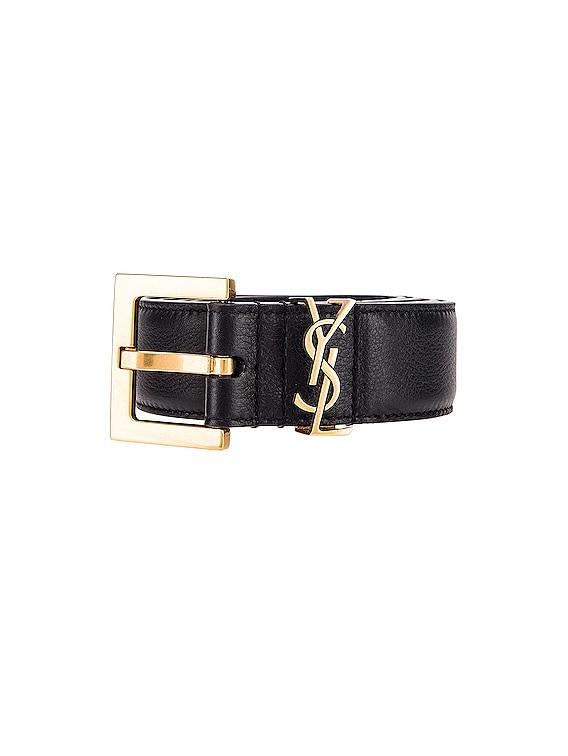 Mongramme Leather Belt in Black