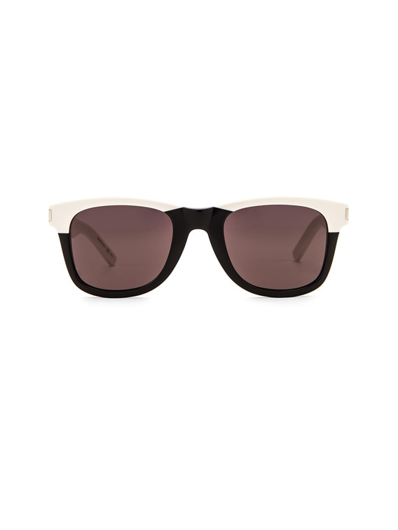 Square Two Tone Sunglasses in Shiny Black & Ivory