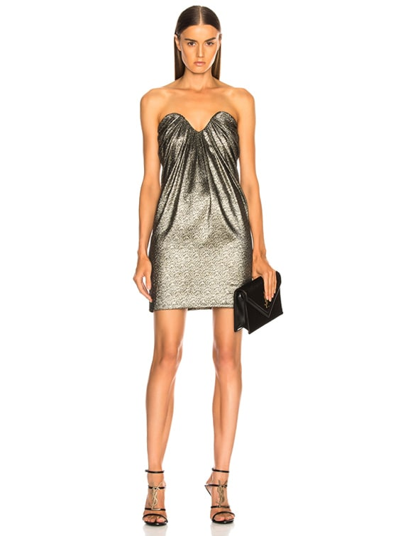 Metallic Bustier Mini Dress in Black, Gold & Silver