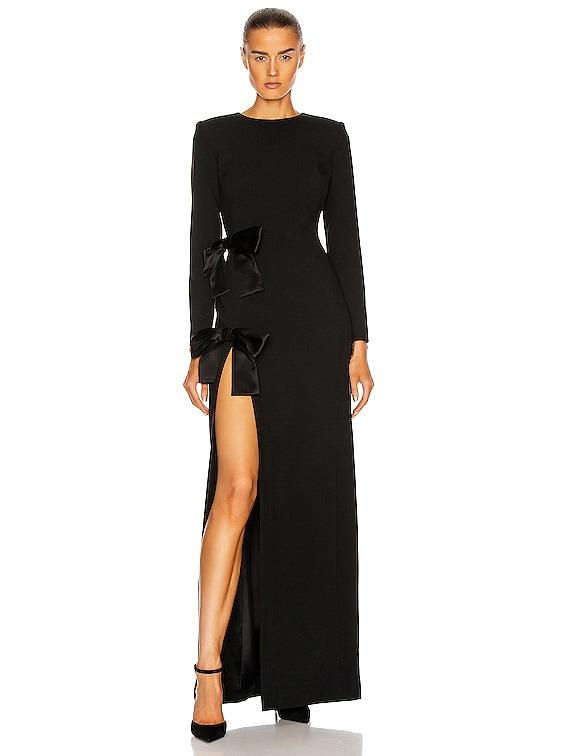 Long Sleeve Slit Dress in Noir